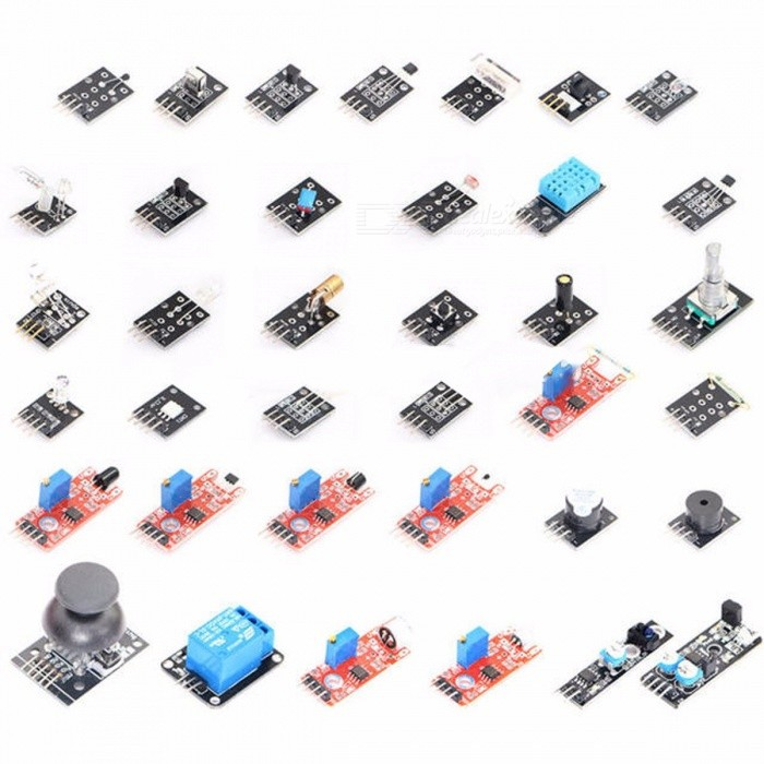 High Quality DIY 37-in-1 Sensor Module Kits Small Passive Buzzer Module for Arduino (Works With Official Arduino Boards) colorfulKits<br>Description<br><br><br><br><br>Type: Voltage Regulator<br><br><br>is_customized: Yes<br><br><br><br><br>Brand Name: WeiKedz<br><br><br>Condition: New<br><br><br><br><br>Application: Other<br><br><br><br><br><br><br><br><br><br><br><br><br>Package Included:<br><br><br>. 1 x Small passive buzzer module&amp;nbsp;<br><br><br>.1 x 2-color LED module&amp;nbsp;<br><br><br>.1 x Hit sensor module&amp;nbsp;<br><br><br>.1 x Vibration switch module&amp;nbsp;<br><br><br>.1 x Photo resistor module&amp;nbsp;<br><br><br>.1 x Key switch module&amp;nbsp;<br><br><br>.1 x Tilt switch module&amp;nbsp;<br><br><br>.1 x 3-color full-color LED SMD module<br><br><br>.1 x Infrared emission sensor module&amp;nbsp;<br><br><br>.1 x 3-color LED module&amp;nbsp;<br><br><br>.1 x Mercury open optical module&amp;nbsp;<br><br><br>.1 x Yin Yi 2-color LED module 3MM&amp;nbsp;<br><br><br>.1 x Active buzzer module&amp;nbsp;<br><br><br>.1 x Temperature sensor module&amp;nbsp;<br><br><br>.1 x Automatic flashing colorful LED module&amp;nbsp;<br><br><br>.1 x Mini magnetic reed modules&amp;nbsp;<br><br><br>.1 x Hall magnetic sensor module&amp;nbsp;<br><br><br>.1 x Infrared sensor receiver module&amp;nbsp;<br><br><br>.1 x Class Bihor magnetic sensor&amp;nbsp;<br><br><br>.1 x Magic light cup module&amp;nbsp;<br><br><br>.1 x Rotary encoder module&amp;nbsp;<br><br><br>.1 x Optical broken module&amp;nbsp;<br><br><br>.1 x Detect the heartbeat module&amp;nbsp;<br><br><br>.1 x Reed module&amp;nbsp;<br><br><br>.1 x Obstacle avoidance sensor module&amp;nbsp;<br><br><br>.1 x Hunt sensor module&amp;nbsp;<br><br><br>.1 x Microphone sound sensor module&amp;nbsp;<br><br><br>.1 x Laser sensor module&amp;nbsp;<br><br><br>.1 x 5V relay module&amp;nbsp;<br><br><br>.1 x Temperature sensor module&amp;nbsp;<br><br><br>.1 x Temperature sensor module&amp;nbsp;<br><br><br>.1 x Linear magnetic Hall se
