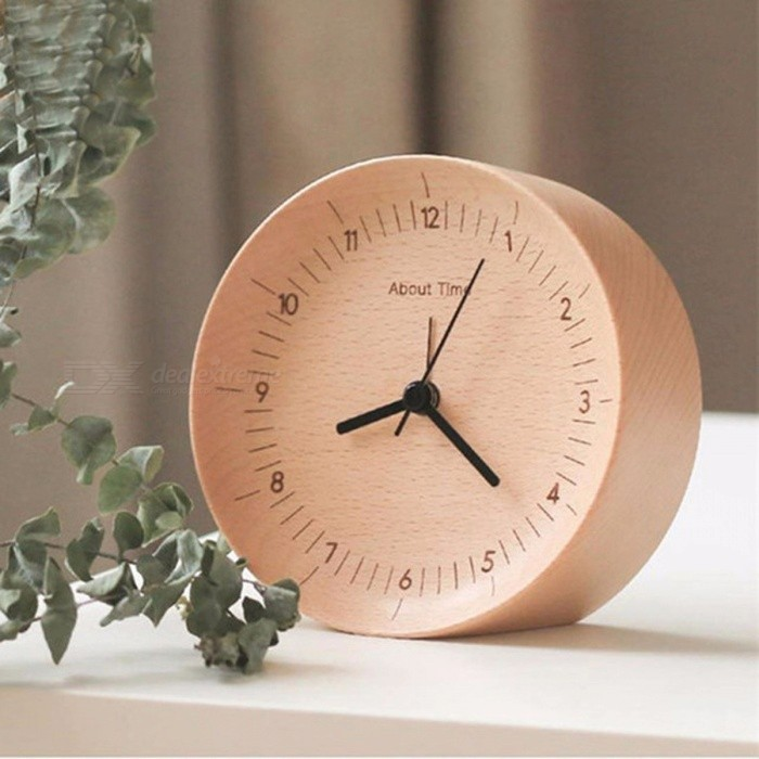 Original Xiaomi Mijia Mute Movement Wooden Alarm Clock Wood Desktop Table Clocks Watch Xmas Gift For Office Xiaomi Smart Home with battery