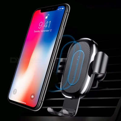 Baseus Car Mount Qi Wireless Charger For iPhone X 8 Plus Quick Charge Fast Wireless Charging Pad Car Holder Stand For Samsung S8 Black