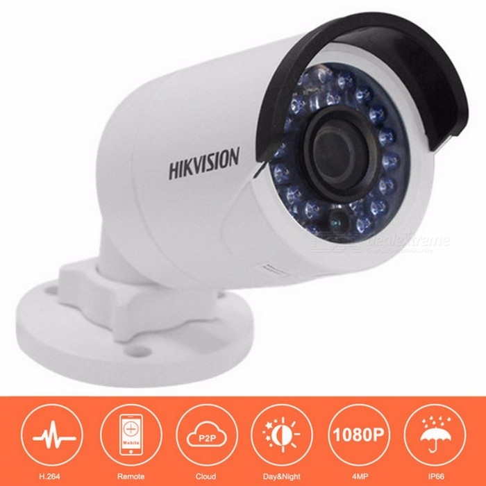 HIKVISION DS-2CD2042WD-I 4MP Bullet Security IP Camera with POE Network camera Security Cameras Surveillance  - 6mmIP Cameras<br>ModelDS-2CD2042WD-IForm  ColorWhiteMaterial;Quantity1 setImage SensorCMOSViewing Angle90 °Audio Compression FormatNoNight VisionYesWireless / WiFiNoNetwork ProtocolIPSupported SystemsXP,Vista,7Supported BrowserOperaSIM Card SlotNoOnline Visitor;IP ModeDynamicMobile Phone PlatformNo,Android,Symbian,WindowsFree DDNSYesIR-CUTYesBuilt-in Memory / RAMNoMotorNoWater-proofYesIntercom FunctionYesFocus6mmPacking ListProduct<br>