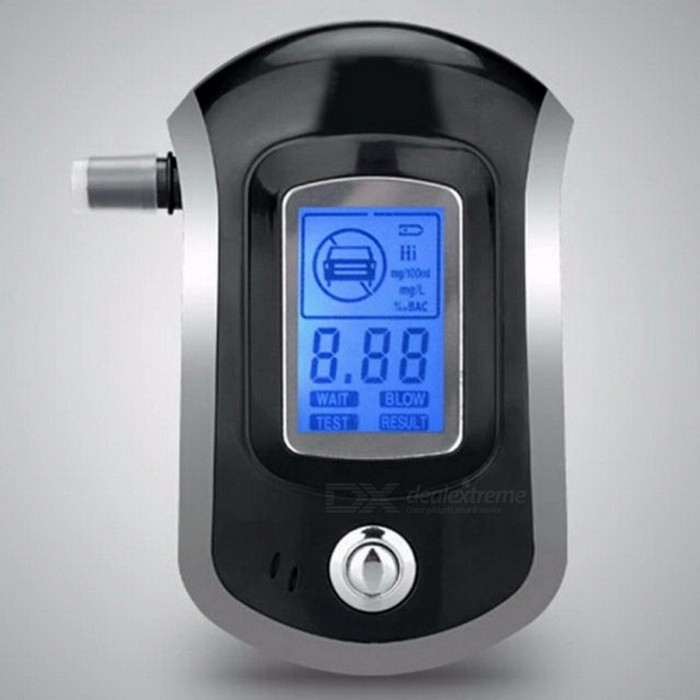 AT-818 Update Version Digital LCD Display Alcohol Tester Patent With 5 Mouthpieces Hide In Car Styling (3 x AAA) blackAlcohol Tester<br>Description<br><br><br><br><br>Brand Name: albabkc <br><br><br><br><br><br><br><br><br><br><br><br>Features and specifications:<br><br><br><br><br><br><br><br><br><br><br>Key features:<br>• Advanced flat surfaced alcohol sensor<br>• Quick response<br>• SMD assembling, stable performance<br>• Direct testing process LCD indication<br>• Digital LCD display with blue backlight<br>• Portable and fashion design<br>• Audible warning beyond preset limit<br>• Sensor fault self checking<br>• Battery-saving design<br>• Low voltage indication<br>• Digital LCD display<br>• Instructions included.<br>• Five mouthpieces included (mouthpiece not necessary, simply blow into grooves for 3-5 seconds)<br>• Compact and lightweight design, fits into purse or pocket easily<br>• Easy to use<br>• Warms up within 10 seconds<br>• Broad range<br>• Auto warning beyond pre-set limit<br>• Works every time<br><br>Specifications:<br>• Model: AT6000<br>• Detection Range: 0.00 – 0.20% BAC, 0.00 - 2.00 g/L, 0.00 – 2.00% BAC, 0.00 - 1.00 mg/L, 0.00 - 200 mg/100mL<br>• Alarm threshold: 0.05% BAC, 0.50 g/L, 0.50% BAC, 50 mg/100mL<br>• Test accuracy: ±10% F.S<br>• Working voltage: 3 x DC 5 V AAA batteries (not included)<br>• Working current: ?120 mA<br>• Environmental temperature: -10 to 50? (14 to 122?F/0<br>• Relative humidity ?95%<br>• Display: 3-digit LCD display with blue backlight<br>• Battery expectancy time: ?2000 Times<br>• Size (LxWxH): 103 x 65 x 27 mm<br>• Weight: 76.5 grams<br><br>Package includes:<br>• 1 x Breathalyzer<br>• 5 x Mouthpiece<br>• 1 x User manual<br>