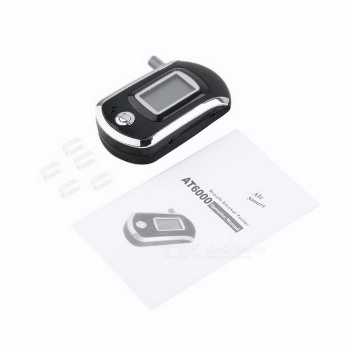 AT-818 Update Version Digital LCD Display Alcohol Tester Patent With 5 Mouthpieces Hide In Car Styling (3 x AAA)