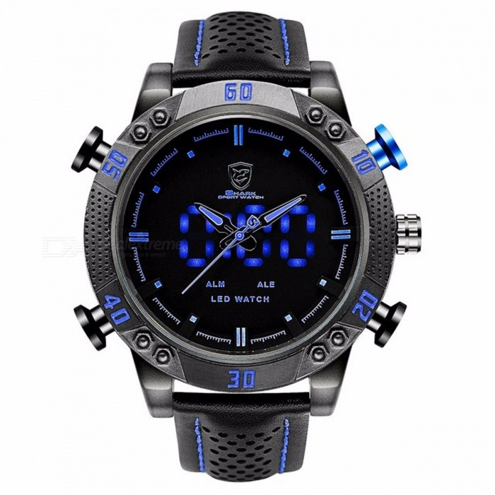 Kitefin Shark SH265 Sports Watch Brand Blue Outdoor Hiking Digital LED Electronic Watches Calendar Alarm Leather Band Men Clock Black
