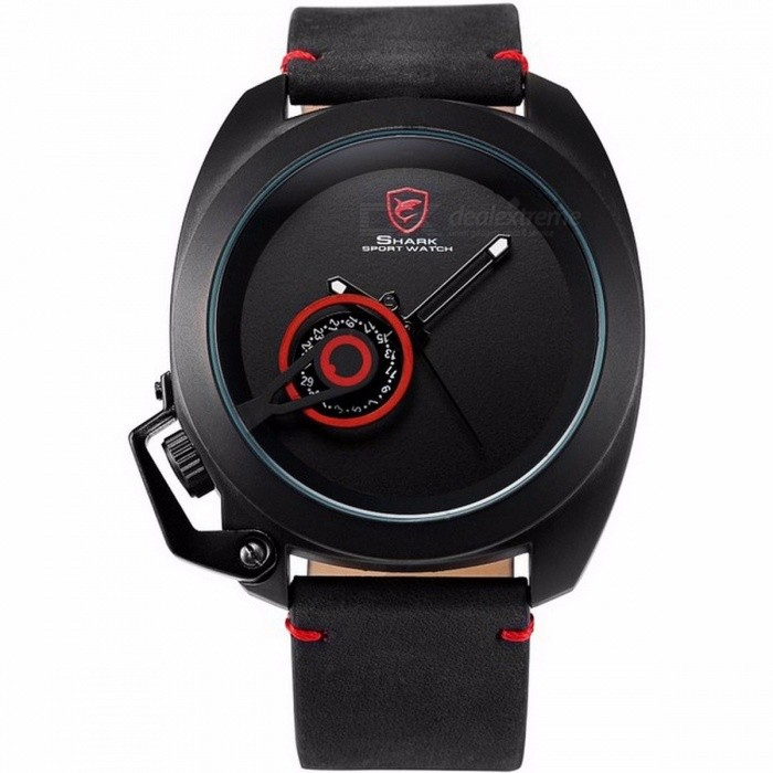 Tawny Shark SH446 Sports Watch Red Date Crown Guard Design Male Luxury Genuine Leather Wrist Watches Mens Fashion Quartz Relogio Black