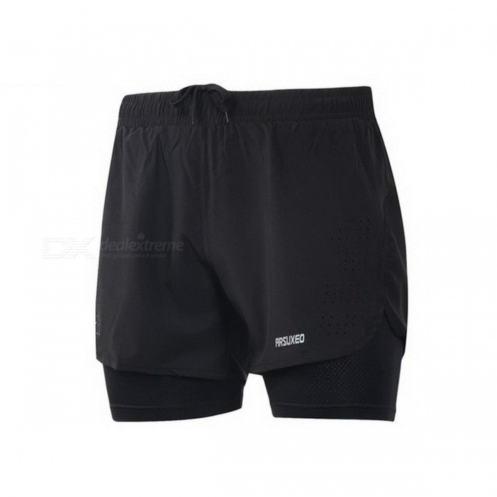 Buy Arsuxeo New Cool Running Shorts Men 2 In 1 Compression Marathon Quick Dry Gym Tights Sport Shorts with Reflective Zipper Pocket XXXL/Black with Litecoins with Free Shipping on Gipsybee.com