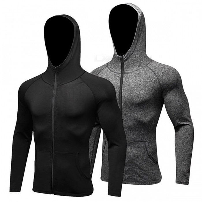 Mens Long Sleeve Sport Shirt Men Hat+Zipper Womens Running T-shirts Gym Sports Clothing Sport Top Sportswear Rashgard L/men grey 9002Description<br><br><br><br><br>Season: Summer,Winter,Spring,Autumn<br><br><br>Gender: Men<br><br><br><br><br>Fit: Fits true to size, take your normal size<br><br><br>Brand Name: NoEnName_Null<br><br><br><br><br>Material: Polyester<br><br><br><br><br><br><br><br><br><br><br><br><br><br>Sport Shirt Men &amp;nbsp;Garment style: Tights <br><br><br><br>Sport Shirt Men &amp;nbsp;Material quality: Polyester spendex <br><br><br>Sport Shirt Men&amp;nbsp; Function: high elastic,quick-dry,wicking <br><br><br>Sport Shirt Men &amp;nbsp;Size: S-M-L-XL-XXL <br><br>Sport Shirt Men &amp;nbsp;Scene : training,basketball,running,yoga&amp;nbsp;<br>