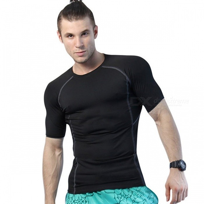 YEL Quick Dry Rashgard Men Compression Tennis Jersey Tight Fitness, Tank Gym Training Running Short T-Shirt Mens Sportswear M/BlackDescription<br><br><br><br><br>Season: Summer,Spring<br><br><br>Brand Name: yuerlian<br><br><br><br><br>Gender: Men<br><br><br>Fit: Fits true to size, take your normal size<br><br><br><br><br>Material: Spandex<br><br><br><br><br><br><br><br><br><br>Short T Shirt Men Material quality: polyester spendex <br><br><br>Short T Shirt Men Function: high elastic,quick-dry,wicking <br><br><br>Short T Shirt Men Size: S-M-L-XL-XXL <br><br><br>Short T Shirt Men Color: black,white,blue,green,red,purple,grey <br><br><br>Short T Shirt Men Style: active,yoga,training <br><br><br>Short T Shirt Men Scene : training,basketball,running,yoga <br><br><br><br>Products details <br><br><br>&amp;nbsp;<br><br><br>Yoga Suits Time to market: 2016 Summer <br><br><br>Yoga Suits Garment style: Tights <br><br><br>Yoga Suits Material quality: Polyester <br><br><br>Yoga Suits Function: high elastic,quick-dry,wicking <br><br><br>Yoga Suits Size: S-M-L-XL-XXL <br><br><br>Yoga Suits Scene : training,basketball,running,yoga <br><br><br>size chart <br><br><br>&amp;nbsp;<br><br><br>Size &amp;nbsp; &amp;nbsp; &amp;nbsp; &amp;nbsp;&amp;nbsp; &amp;nbsp;&amp;nbsp; Fit Height &amp;nbsp; &amp;nbsp; &amp;nbsp; &amp;nbsp; &amp;nbsp; &amp;nbsp;Fit Weight&amp;nbsp; &amp;nbsp; &amp;nbsp; &amp;nbsp; &amp;nbsp;&amp;nbsp;Chest &amp;nbsp; &amp;nbsp; &amp;nbsp; &amp;nbsp; Length <br><br><br>S &amp;nbsp; &amp;nbsp; &amp;nbsp; &amp;nbsp; &amp;nbsp;&amp;nbsp; 160~165 cm &amp;nbsp; &amp;nbsp; &amp;nbsp; &amp;nbsp; &amp;nbsp; &amp;nbsp;&amp;nbsp;50~55 kg &amp;nbsp; &amp;nbsp; &amp;nbsp; &amp;nbsp; 78 cm &amp;nbsp; &amp;nbsp; &amp;nbsp; &amp;nbsp; &amp;nbsp; 62 cm <br><br><br>&amp;nbsp; &amp;nbsp; &amp;nbsp; &amp;nbsp; &amp;nbsp; &amp;nbsp; &amp;nbsp; &amp;nbsp; &amp;nbsp;62.9~64.9 &amp;nbsp; &amp;nbsp; &amp;nbsp; &amp;nbsp; &amp;nbsp;110~121 lb &amp;nbsp; &amp;nbsp; &amp;nbsp; &amp;nbsp; &amp;nbsp;3