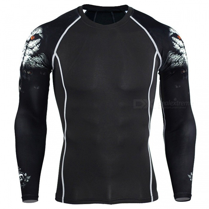 Men-Compression-Long-Sleeve-Running-Sports-Quick-Dry-T-Shirt-Bodybuilding-Weightlifting-Base-Layer-Gym-Fitness-Tight-Tee-Tops-LC1white