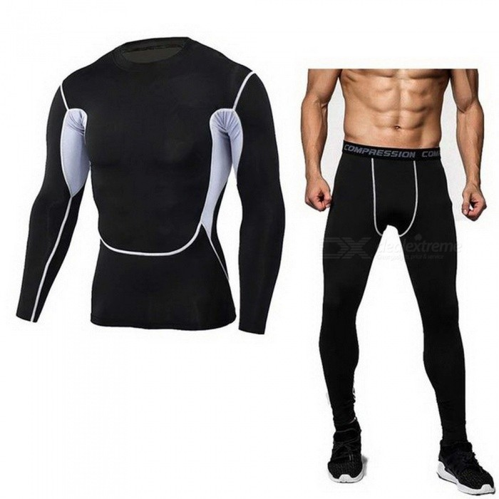 Detector-Mens-Compression-Shirt-Pants-Set-Bodybuilding-Tight-Long-Sleeve-Shirt-Leggings-Sport-Suit-Workout-Fitness-Sportswear-3XLGH04black