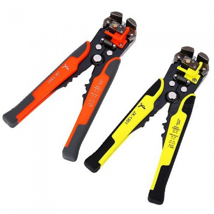 JX1301 Cable Wire Stripper Cutter Crimper, Automatic Multifunctional TAB Terminal Crimping Stripping Plier Tool OrangePliers<br>Description<br><br><br><br><br>Type: Decrustation Pliers<br><br><br>Application: Multi Functional<br><br><br><br><br>Brand Name: JAKEMY<br><br><br>Plier Style: Chinese<br><br><br><br><br>DIY Supplies: Electrical<br><br><br>Handle Style: Straight<br><br><br><br><br>is_customized: No<br><br><br>Features: Multifunctional<br><br><br><br><br>Material: Other<br><br><br><br><br><br><br><br><br><br>Feature 1:  Versatile 8 inch wire cutter <br><br><br>Feature 2: Stripping jaws can strip the wire of the specification 10 - 24AWG <br><br><br>Feature 3: Fine tune the nut while sliding or damaging the wire <br><br><br>Feature 4: The cutter can cut off copper and aluminum wire <br><br><br>Feature 5:  Crimp the insulated terminals 10 - 22AWG <br><br><br>Feature 6: Plastic and cushion grip handle provides max leverage<br><br><br><br><br>Main Features: <br><br><br>? Versatile 8 inch wire cutter.<br> ? Stripping jaws can strip the wire of the specification 10 - 24AWG.<br> ? Fine tune the nut while sliding or damaging the wire.<br> ? The plastic sliding block can adjust stripping length, if no need to use it, push it to another direction.<br> ? The cutter can cut off copper and aluminum wire.<br> ? Crimp the insulated terminals 10 - 22AWG.<br> ? Plastic and cushion grip handle provides maximum leverage.<br> ? Black oxide, stain finish, heat treat and high quality steel. <br><br><br>Attention:If the plier sliding or damage wire, please adjust the nut as the picture put out to make it work,  <br><br><br>if still have problem, please ccontact us for help. <br><br><br>&amp;nbsp;<br><br><br>Package weight:&amp;nbsp;0.407 kg&amp;nbsp;<br>Product Size(L x W x H):&amp;nbsp;9.50 x 20.50 x 2.00 cm / 3.74 x 8.07 x 0.79 inches&amp;nbsp;<br>Package Size(L x W x H):&amp;nbsp;12.50 x 28.50 x 3.50 cm / 4.92 x 11.22 x 1.38 inches <br><br><br>Package Contents:&amp;nbsp;1 x Plie
