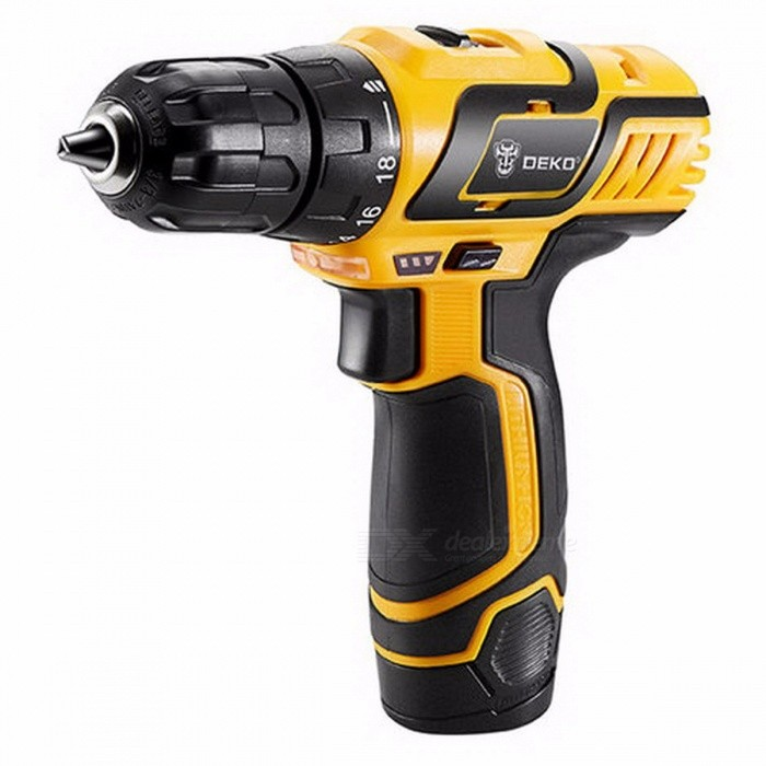 DEKO GCD10.8DU3 10.8V DC New Design Household Lithium-Ion Battery Cordless Drill / Driver Power Tool, Electric Mini Drill SET1Description<br><br><br><br><br>Brand Name: DEKO<br><br><br>Rated Input Power: 340W<br><br><br><br><br>DIY Supplies: Woodworking<br><br><br>Rated Voltage: 10.8V<br><br><br><br><br>is_customized: Yes<br><br><br>Power Source: DC<br><br><br><br><br>Drill Type: Cordless Drill<br><br><br><br><br><br><br><br><br><br>Max. Drilling Diameter: 10mm <br><br><br>Rated Torque: 25 N.m <br><br><br>Special Features: Light Weight, LED Worklight, Always Ready <br><br><br>Torque Settings: 18+1 Settings <br><br><br>Chuck Type: Keyless <br><br><br>Chuck Size: 3/8 (0.8-10mm) <br><br><br>Battery Pack: 10.8V DC 1300mAh Li-ion Battery Pack required (included) <br><br><br>Battery Cell Type: 3.6V Lithium Ion Battery x 3 <br><br><br>Charger Adapter Input: 100-240V AC 50-60Hz <br><br><br>Charger Adapter Output: 13.5V DC 400mAh <br><br><br>Charging Time: 3-5 Hours <br><br><br>No Load Speed: 0-400/0-1500rpm<br>