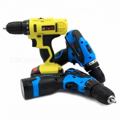 GOXAWEE 16.8V Lithium Cordless Hand Electric Drill, Household Multi-function Electric Screwdriver Power Tool Drill EU/12 Two Speed