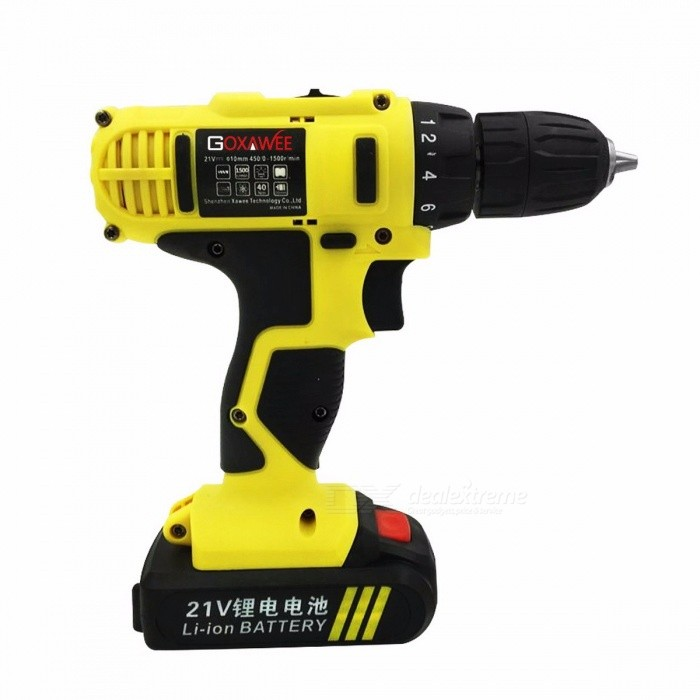 GOXAWEE 16.8V Lithium Cordless Hand Electric Drill, Household Multi-function Electric Screwdriver Power Tool Drill
