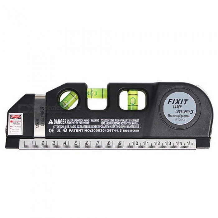 MX-DEMEL Laser Level Horizon Vertical Measure 8FT Aligner Standard &amp; Metric Rulers Multipurpose Measure Instrument Level Laser BLACKLaser Rangefinder, Electronic Distance Meter<br>Description<br><br><br><br><br>Type: Vertical &amp;amp; Horizontal Lasers<br><br><br>Brand Name: MX-DEMEL<br><br><br><br><br>Measurement Model: 2 lines<br><br><br><br><br><br><br><br><br><br><br><br><br>100% Brand New. High Quality<br><br><br>New Laser Level Horizon Vertical Measure Tape 8FT Aligner<br><br><br>Hang shelves and cabinets, tiles and picture frames with accuracy<br><br><br>Projects horizontal or vertical laser light beam&amp;nbsp;<br><br><br>Locking 8-foot measuring tape.<br><br><br>Standard and metric rulers&amp;nbsp;<br><br><br>Ideal For Any Job That Requires A Straight Line Or Accurate Measurement.<br><br><br>Use this Multipurpose Laser Level for hanging pictures, installing shelving,&amp;nbsp;<br><br><br>laying flooring, hanging wallpaper and more.<br><br><br>Laser light has an on/off power switch.<br><br><br>Laser max output: less than 0.5mW<br><br><br>Powered by 3*AG13 button cell battery (Not included)<br><br><br>keep the laser level away from water ,dust and sunlight<br><br><br>&amp;nbsp;<br><br><br>Specifications:<br><br><br>Wavelength:650nm<br><br><br>Output Power:5mW<br><br><br>Size : 18.5 (L) x 6.2(W) x 2.8 (H) cm<br><br><br>Packaging size: 210*80*40mm&amp;nbsp;<br><br><br>Color : Black<br>
