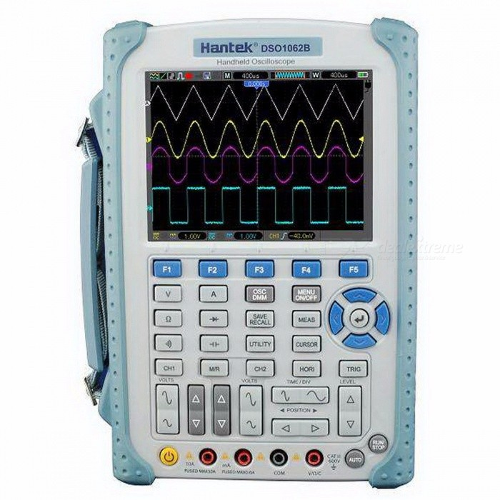 Hantek DSO1062B Handheld Oscilloscope, 2 Channels 60MHZ 1GSa/s Sample Rate 1M Memory Depth 6000 Counts DMM with Analog Bargraph whiteOscilloscope &amp; Logic Analyzer<br>Description<br><br><br><br><br>DIY Supplies: Electrical<br><br><br>Display Size: 5.0 - 6.9 Inches<br><br><br><br><br>IS Battery Demountable: Yes<br><br><br>Brand Name: Hantek<br><br><br><br><br>Real Time Sampling Rate: 1GSa/S<br><br><br>Display resolution: 640*480 Pixels<br><br><br><br><br>Digital Channels: 2<br><br><br>Band Width: Other<br><br><br><br><br><br><br><br><br><br><br><br>DSO1062B<br><br><br>60MHz Bandwidth Oscilloscope<br> 1GSa/s sample rate, 1M Memory Depth, and 6000 Counts DMM with analog bargraph;&amp;nbsp;<br> 5.6 inch TFT Color LCD Display, High Resolution(640*480).<br><br><br>1. Feature<br><br><br><br>60MHz Oscilloscope, 1GS/s sample rate, and 6000 Counts DMM with analog bargraph. <br><br><br>1M Memory Depth. <br><br><br>High Refresh Rate (2500 frames). <br><br><br>Large 5.6 inch TFT Color LCD Display; High Resolution(640*480); Dual-Window Design --More clear, More Detailed <br><br><br>One-touch<br> automatic setup optimizes the position, range, timebase, and triggering<br> to assure a stable display of virtually any waveform. <br><br><br>Easy-to-use pop-up menu with built-in multi-language help system. <br><br><br>32 Automatic Measurements. <br><br><br>Waveform Math: Add, Subtract, Multiply, and Divide. <br><br><br>Store and recall over. <br><br><br>Automatic cursor tracking measurements. <br><br><br>XY Mode. <br><br><br>Built-in<br> FFT function converts a time-domain signal into its frequency <br>components to measure harmonic content and distortion in systems. <br><br><br>Waveform Recorder to capture/replay input waveforms from CH1 and CH2 with a maximum record length of 1000 frames. <br><br><br>Pass/Fail function compares a stored waveform to an unknown input. <br><br><br>Average Mode for smoothing waveforms. <br><br><br>Square Wave Output (2V, 1kHz) for probe adjustment. <br