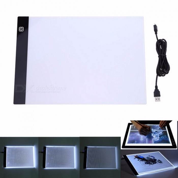 VKTECH Digital Tablet 13.15x9.13 Inches A4 LED Artist Thin Art Stencil Drawing Board Light Box Tracing Table Pad white
