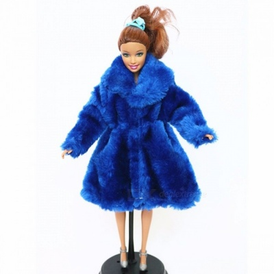 High Quality Fashion Handmade Clothes Dresses Grows Outfit Flannel Coat for Barbie Doll, Girls Best Gift Blue