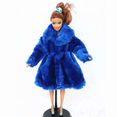 High Quality Fashion Handmade Clothes Dresses Grows Outfit Flannel Coat for Barbie Doll, Girls Best Gift Black