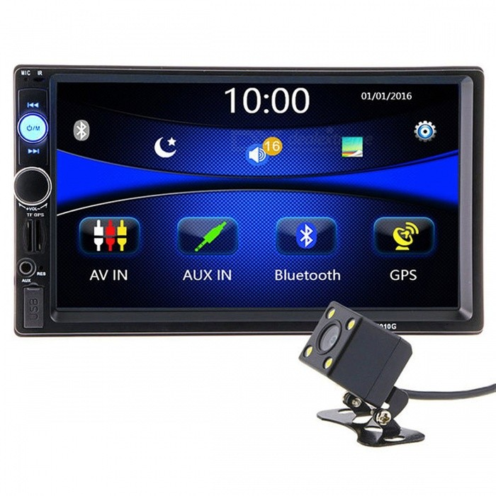 7010G 2 Din 7 Inches HD Car Radio GPS Navigation Player Camera Autoradio, Supports Bluetooth, AUX / USB, MP3 MP5 Stereo FM Audio Europe MapsCar DVD Players<br>Description<br><br><br><br><br>Special Features: Radio Tuner,Charger,MP3 Players,Bluetooth,Touch Screen,Built-in GPS,Mobile Phone<br><br><br>Brand Name: HIEI<br><br><br><br><br>OSD Language: English<br><br><br>Voltage: 12V<br><br><br><br><br>Placement: In-Dash<br><br><br>Display Size: 7<br><br><br><br><br><br><br><br><br><br><br><br><br>General Features: <br><br>&amp;nbsp; &amp;nbsp;- 7 inch digital TFT Touch Screen <br><br><br>&amp;nbsp; &amp;nbsp;- Built-in GPS function, with&amp;nbsp;TF card (within IGO map) <br><br><br>&amp;nbsp;&amp;nbsp;&amp;nbsp;-&amp;nbsp;With&amp;nbsp;HD Rear View Camera <br><br><br>&amp;nbsp;&amp;nbsp; &amp;nbsp;-&amp;nbsp; Support Steering Wheel Control <br><br><br>&amp;nbsp; &amp;nbsp;- With TF Card Slot,With USB 2.0 port <br><br><br><br>&amp;nbsp; &amp;nbsp;- 1080P video Format<br><br><br><br> <br><br><br><br>&amp;nbsp; &amp;nbsp;Item Description : <br><br><br>&amp;nbsp; &amp;nbsp;- Support the Audio playback format of MP3/WMA/WAV/MKV/FLAC/OGG/APE <br><br><br>&amp;nbsp; &amp;nbsp;- Support the Video playback format of &amp;nbsp; &amp;nbsp; <br><br><br>&amp;nbsp; &amp;nbsp;&amp;nbsp; RM/RMVB/VOB/DAT/MP1/MP2/DIVX/XVID/MP4/H263/H264/FLV/3GP/SWF/AVI/ASF/MJPEG ect <br><br><br>&amp;nbsp; &amp;nbsp;- MOSFET amplifier: 45 watts x 4 Max power output <br><br><br>&amp;nbsp; &amp;nbsp;- FM Range:87.5MHz-108.00MHz (Europe), Stereo electronic tuner, scan &amp;amp; store stations automatically <br><br><br>&amp;nbsp; &amp;nbsp;- With Remote Control <br><br><br>&amp;nbsp; &amp;nbsp;- Power-off with auto-memory store function under radio or TF/USB mode <br><br><br>&amp;nbsp; &amp;nbsp;- Clock Function <br><br><br>&amp;nbsp; &amp;nbsp;- Mute Function <br><br><br>&amp;nbsp; &amp;nbsp;- Bluetooth Function <br><br><br>&amp;nbsp; &amp;nbsp;- Bass &amp;amp; Treble,L &amp;amp; R channel stabilizer <br><br><br>&amp;nbsp; &amp;nbsp;- AUX IN Function <br><br><br>&amp;nbsp; &amp;nbsp;- Rear View camera input Function (FOR REAR VIEW CAMERA!) <br><br><br>&amp;nbsp; &amp;nbsp;The Panel size (mm): 180(width)*104(height)<br> &amp;nbsp;&amp;nbsp;&amp;nbsp;Body installation size(mm):178(width)*100(height)*58(depth) <br><br><br><br>&amp;nbsp; &amp;nbsp;Item Weight: 0.92 KG<br><br><br><br> <br><br><br><br>&amp;nbsp; &amp;nbsp;Kindly attention: <br><br><br>&amp;nbsp; &amp;nbsp;This car radio do not BUILT IN and include any Memory card or SD card inside. <br><br><br>&amp;nbsp; &amp;nbsp;There is not CD room for the CD Player. This is not Support CD/DVD Player. <br><br><br>&amp;nbsp; &amp;nbsp;This is car radio MP5 player support the USB TF card. And its music quality is better than CD/DVD Player <br><br><br><br>&amp;nbsp; &amp;nbsp;DONT SUPPORT DVD Function !!<br><br><br><br> <br><br><br><br>&amp;nbsp; &amp;nbsp;INCLUDED: <br><br><br>&amp;nbsp; &amp;nbsp;1 * &amp;nbsp;7.0 HD Car MP5 player <br><br><br>&amp;nbsp; &amp;nbsp;1 * &amp;nbsp;Remote Controller <br><br><br>&amp;nbsp; &amp;nbsp;1 * &amp;nbsp;Power cable <br><br><br>&amp;nbsp; &amp;nbsp;1 * &amp;nbsp;English User Manual <br><br><br>&amp;nbsp; &amp;nbsp;1 * &amp;nbsp;GPS antenna <br><br><br>&amp;nbsp;&amp;nbsp; 1&amp;nbsp;*&amp;nbsp;&amp;nbsp;HD Rear View Camera&amp;nbsp;<br>