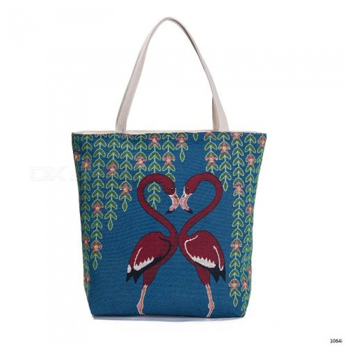 Embroidery Design Floral And Flamingo Print Casual Tote Bag Women Large Capacity Shoulder Bag Female Summer Beach Bag 1064i