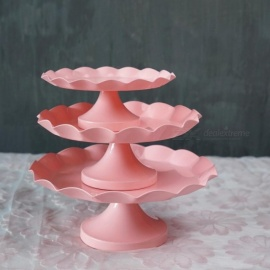 Pink-cake-stand-cupcake-tray-metal-iron-cake-tools-waterproof-dessert-plate-bake-tool-candy-decoration-party-bakeware-Large