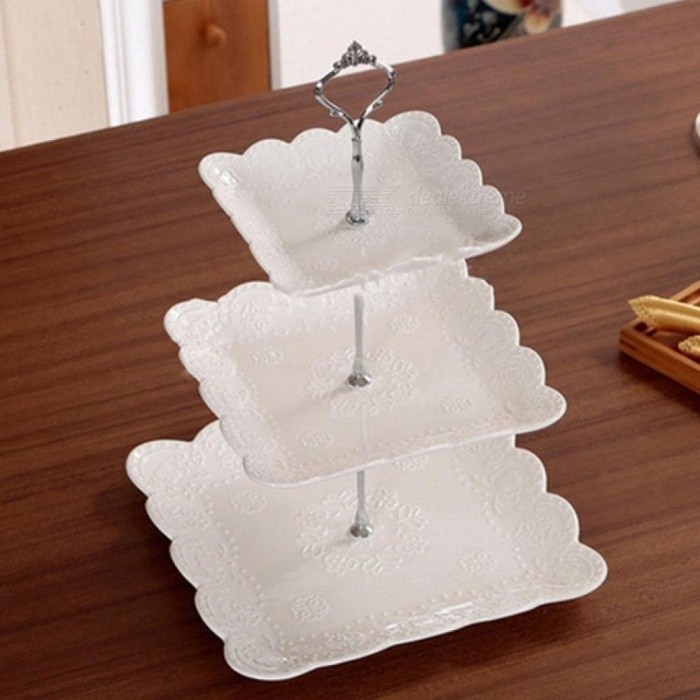 Durable and Practical 3 Tier Cake Plate Stand Cupcake Food Molds Fitting Hardware Tool for Wedding Party and Holiday