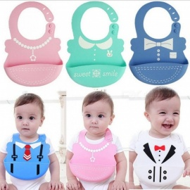 Baby-Bibs-Waterproof-Silicone-Feeding-Infant-Saliva-Towel-Newborn-Cartoon-Aprons-Baby-Food-grade-Silicone-Bibs-One-Sizepink
