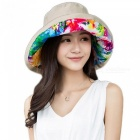 Printed-Floral-Fisherman-Bucket-Hat-Summer-Women-Wide-Brim-FishingWaterproof-Sun-Hats-UV-Protection-Basin-Cap-Foldable-Beige