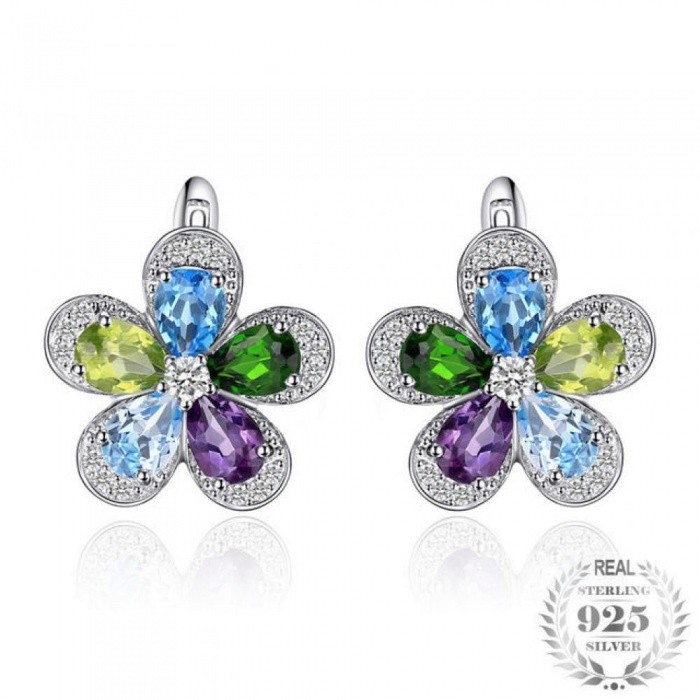 44ct-Flower-Multicolor-Natural-Blue-Topaz-Amethyst-Peridot-Chrome-Diopside-Clip-Earrings-925-Sterling-Silver