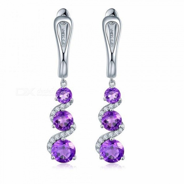 Clip-Earrings-283ct-Natural-Gemstone-African-Amethyst-Solid-925-Sterling-Silver-Fine-Stone-Jewelry-for-Womens-Gift