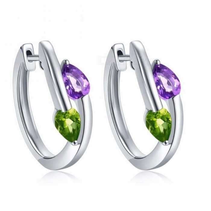 Stone Jewelry Earrings Natural Gemstone African Amethyst Peridot Solid 925 Sterling Silver Fine Jewelry for Women's Gift