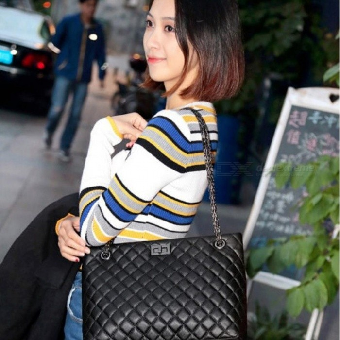 Luxury-Women-Plaid-Bags-Large-Tote-Bag-Female-Handbags-Black-Leather-Big-Crossbody-Chain-Messenger-Bag-30X10X22CMBlack