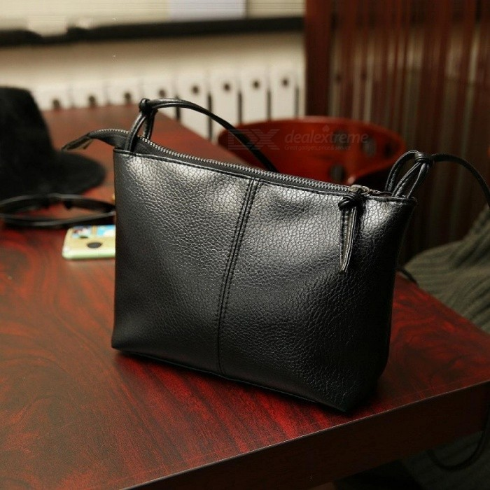 Buy Fashion Black Women Messenger Bag Designer Handbags Zipper Leather Crossbody Handbags Women Shoulder Bag 22x18cm/Black with Litecoins with Free Shipping on Gipsybee.com
