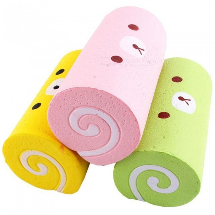 15CM Cute Jumbo Cartoon Bear Cake Roll Squishy Slow Rising Bread Sweet Kid Toy Gift Squeeze Toy Phone Strap Random Color