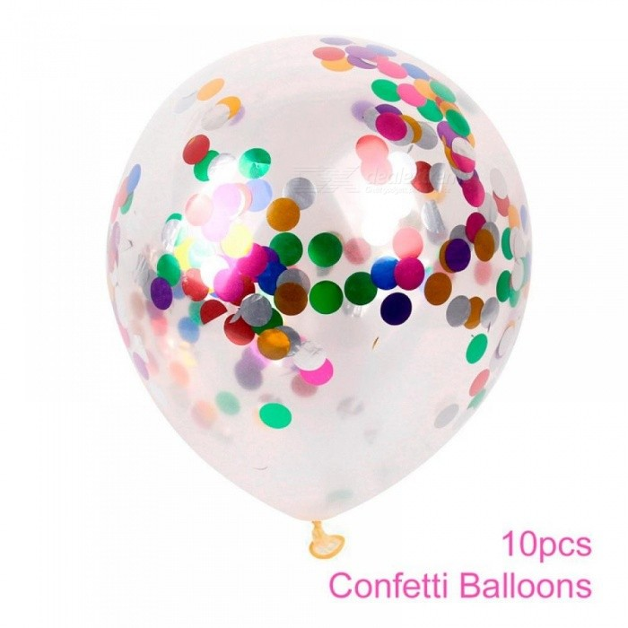 10pcs 12 Inch Clear Confetti Balloon Latex Confetti Balloon Happy Birthday Balloons Wedding Decoration Event Party Supplies