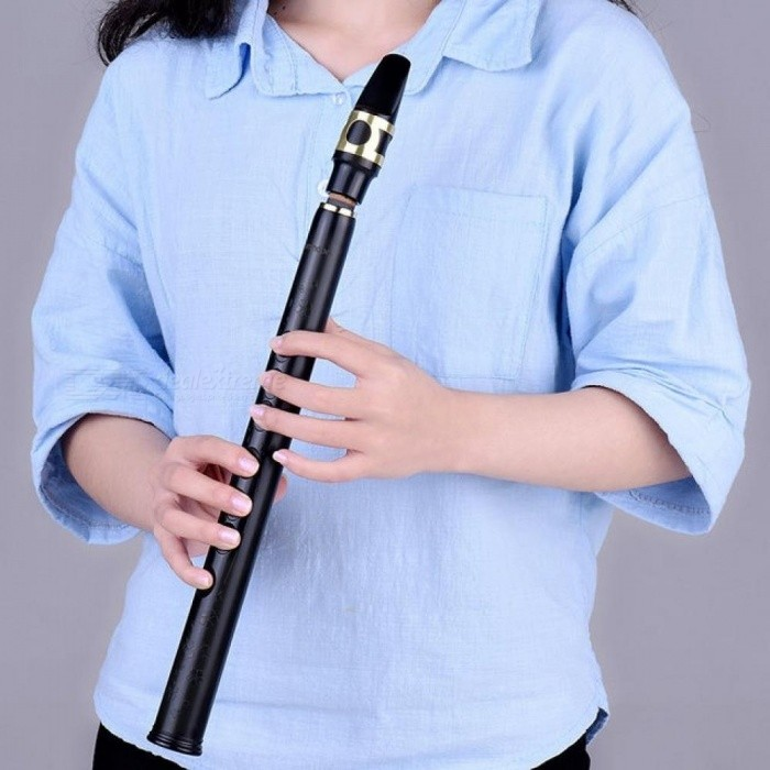 Mini Pocket Bb Saxophone Sax ABS with Alto Mouthpieces 4pcs Reed Carrying Bag Woodwind Instrument     Black