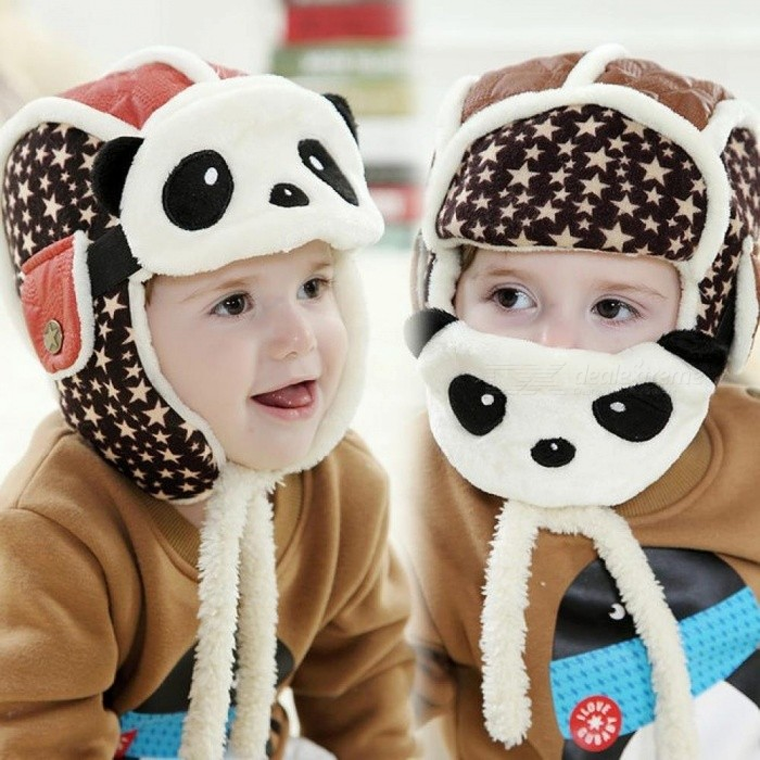 Lovely Panda Hats Baby Caps Kids Aviator Hat Bomber Winter Cap Children Masks Warm All for Children Clothing and Accessories Red