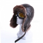Winter-Bomber-Hats-Plush-Earflap-Russian-Ushanka-with-Goggles-Men-Womens-Trapper-Aviator-Pilot-Hat-Faux-Leather-Fur-Snow-Caps-Mwith-clear-goggles