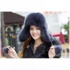 10025-Real-Fox-fur-Womens-Russian-Ushanka-Aviator-Trapper-Snow-Skiing-Hat-Caps-Earflap-Winter-Raccoon-Fur-Bomber-Hat-one-sizeBlack