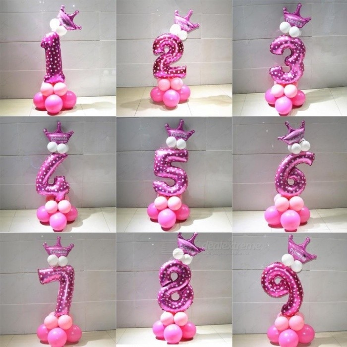 Buy 1 Set Blue Pink Foil Number Balloon Thicken Latex Air Ballons with Crown Anniversary Baby Shower Kids Birthday Party Decoration 8/Pink with Litecoins with Free Shipping on Gipsybee.com