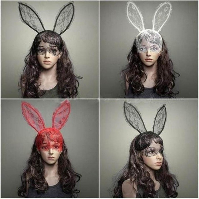Buy Fashion Women Girl Hairbands Lace Rabbit Bunny Ears Veil Black Eye Mask Halloween Party Headwear Hair Accessories Red with Litecoins with Free Shipping on Gipsybee.com