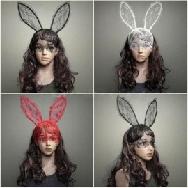 Mism Korean Style Hair Band Women Lace Rabbit Bunny Ears Veil Sexy Hairpins Black Mask Party Sexy Club Cosplay Hair Accessories With A Long Standing Reputation Girl's Hair Accessories