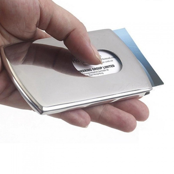 Portable Hand-push Type Business Card Holder Wallet Stainless Steel Card Case for Men                 Silver
