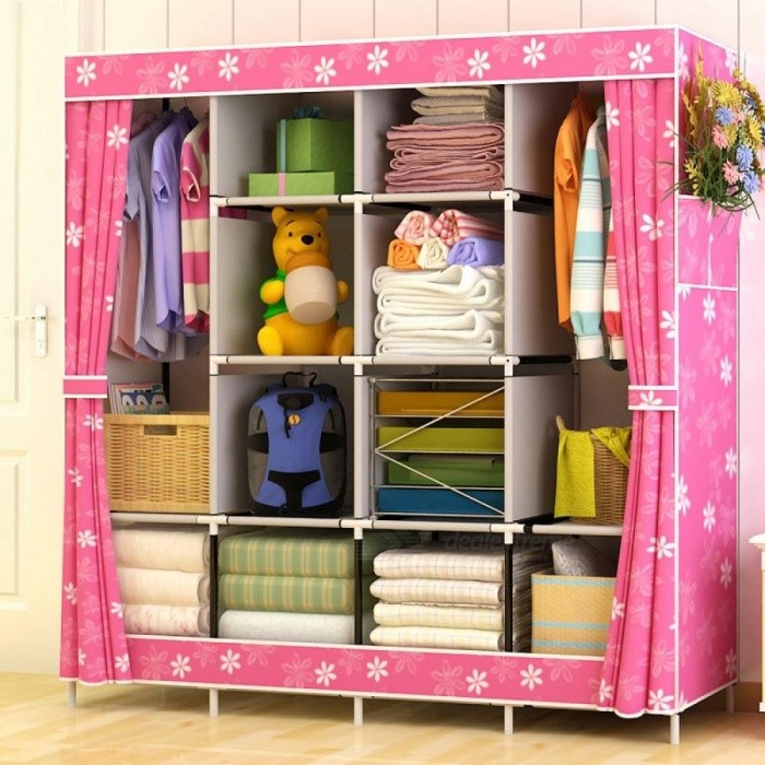 Modern-Simple-Wardrobe-Household-Fabric-Folding-Cloth-Ward-Storage-Assembly-King-Size-Reinforcement-Combination-Simple-Wardrobe-Blue