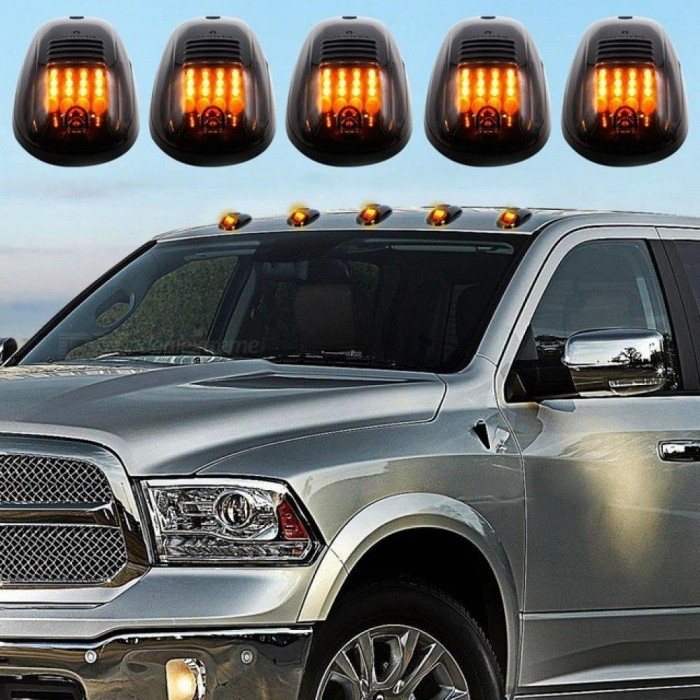 5pcs/set Amber 16-LED Car Cab Roof Marker Lights for Truck SUV 4x4 LED 12V Black Smoked Lens Lamp Car External Lights Yellow