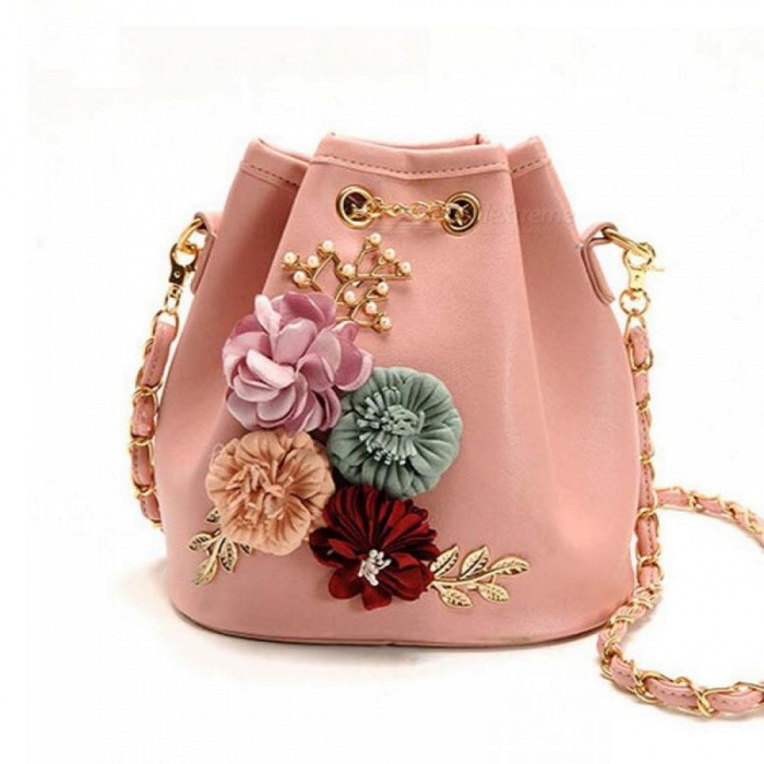 Buy Handmade Flowers Bucket Bags Mini Shoulder Bags with Chain Drawstring Small Cross Body Bags Pearl Bags Leaves Decals 18CM19CM12CM/Pink with Litecoins with Free Shipping on Gipsybee.com