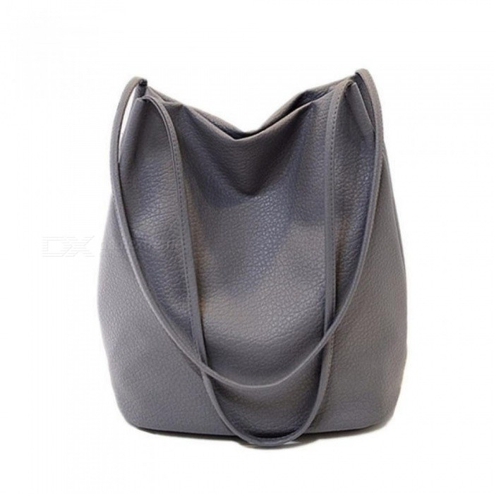 Women Leather Handbags Black Bucket Shoulder Bags Ladies Cross Body Bags Large Capacity Ladies Shopping Bag Beige