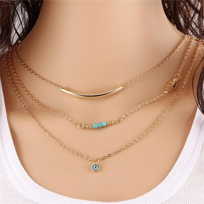1pc Unique Charming Gold Tone Bar Circle Lariat Necklaces Women Multilayer Chain Necklaces Female Party Jewelry 12