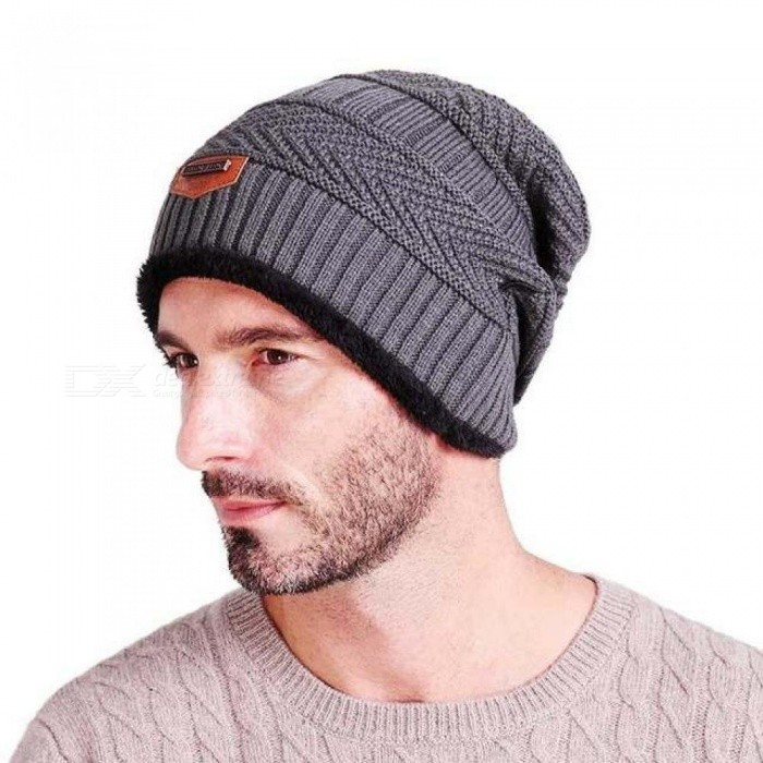687032b08f13 Men s Winter Hat Fashion Knitted Black Hats Fall Hat Thick and Warm and  Bonnet Skullies Beanie