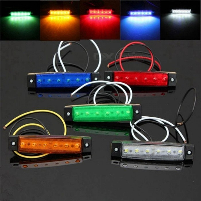 1pc DC 24V 6 SMD LED Car Bus Truck Trailer Lorry Side Marker Indicator Light Side Lamp White/Red/Amber/Blue/Green Yellow